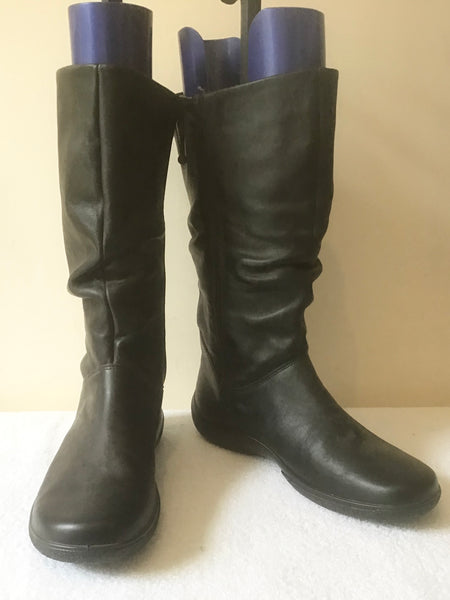 BRAND NEW HOTTER BLACK LEATHER CALF LENGTH COMFORT BOOTS SIZE 5.5/38.5