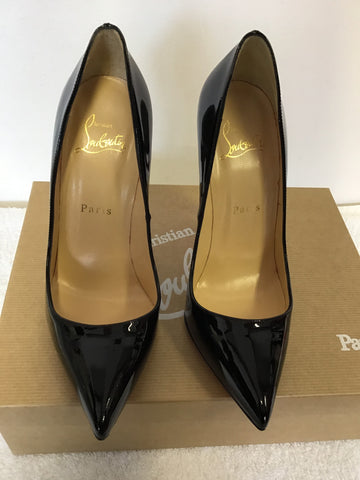 BRAND NEW CHRISTIAN LOUBOUTIN PIGALLE 120 BLACK PATENT LEATHER HEELS SIZE 4/37.5
