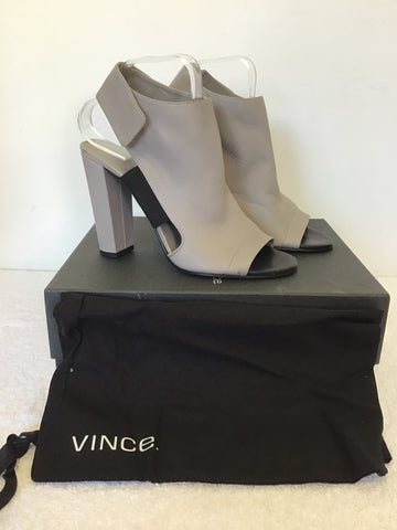 BRAND NEW VINCE ANETTA WOODSMOKE LEATHER OPEN TOE SANDAL BOOTIES SIZE 7.5/41