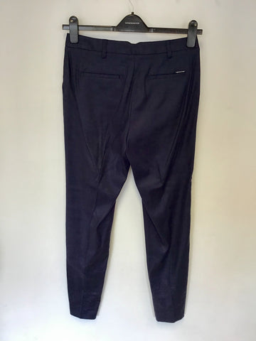 BRAND NEW MARKS & SPENCER AUTOGRAPH NAVY LUXURY LINEN TROUSERS SIZE 10L