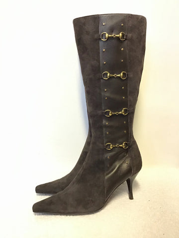 CAPOLLINI BROWN SUEDE & LEATHER TRIM WITH BRASS HORSEBIT BUCKLE TRIM BOOTS SIZE 6/39
