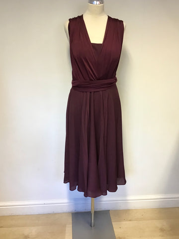 TED BAKER BURGUNDY/ WINE SILK BLEND SPECIAL OCCASION DRESS SIZE 3 UK 12