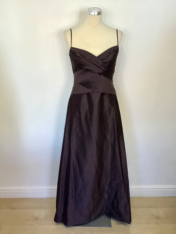 MONSOON BROWN COTTON & SILK LONG EVENING DRESS/ BALL GOWN SIZE 12
