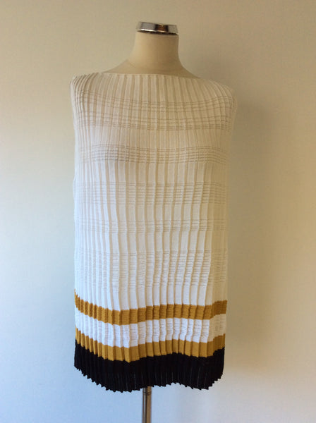 BIMBA Y LOLA WHITE WITH TAN & BLACK STRIPE PLEATED FINE KNIT TOP SIZE S