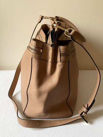 MODALU CAMEL LEATHER TOTE BAG WITH DETACHABLE SHOULDER STRAP