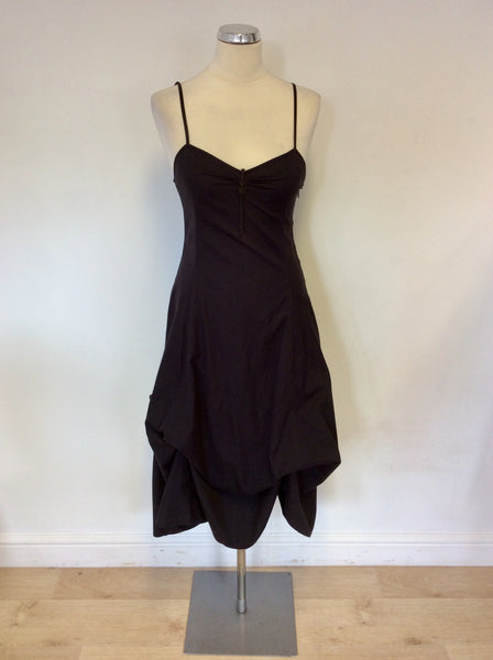 EMPORIO ARMANI BLACK COTTON STRAPPY PARACHUTE SKIRT DRESS SIZE 12 FIT UK 8/10