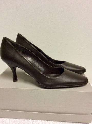 BRAND NEW LK BENNETT MENORCA BROWN LEATHER HEELS SIZE 4/37
