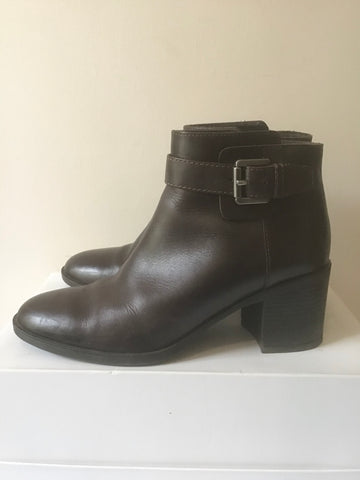 GEOX RESPIRA DARK BROWN LEATHER BUCKLE TRIM ANKLE BOOTS SIZE 3/36