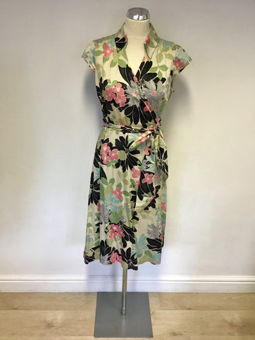 PHASE EIGHT MULTI COLOURED FLORAL PRINT COTTON WRAP DRESS SIZE 14