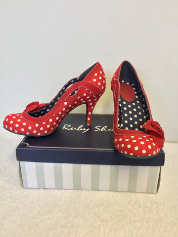 RUBY SHOO RED & WHITE SPOT HEELS WITH FLOWER TRIM SIZE 7/40