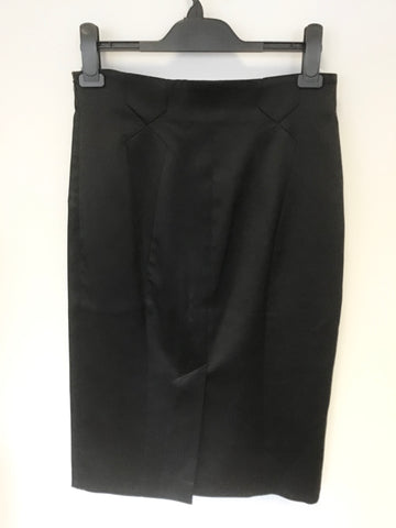 KAREN MILLEN BLACK MATT SATIN PENCIL SKIRT SIZE 12
