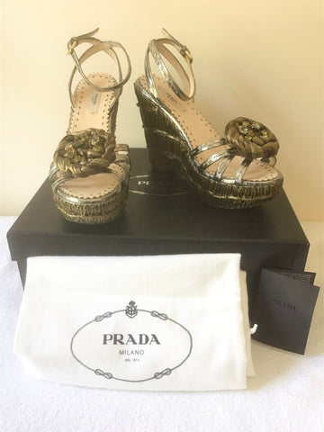 BRAND NEW PRADA PEWTER & BROWN RAFFIA WEDGE HEEL ANKLE STRAP SANDALS SIZE 4/37