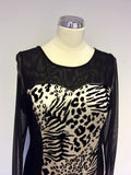 GOLD BY MICHAEL H BLACK & GOLD LEOPARD PRINT PANEL COCKTAIL DRESS SIZE 10