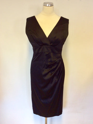 MARKS & SPENCER BLACK MATT SATIN PENCIL DRESS SIZE 12