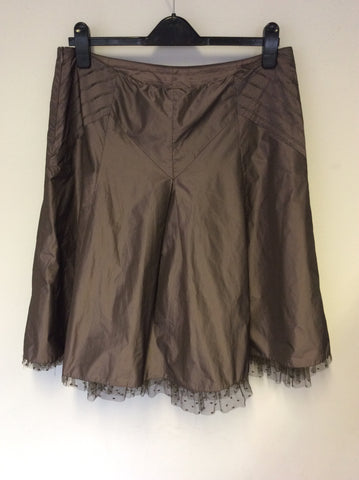 KAREN MILLEN BROWN FLARED NET TRIM SKIRT SIZE 14