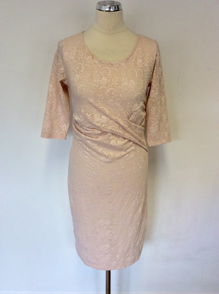 PHASE EIGHT PALE PINK LACE STRETCH PENCIL DRESS SIZE 12