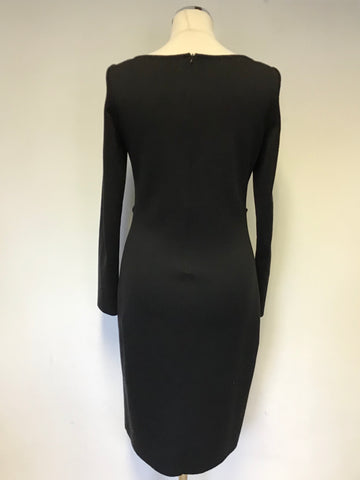 DESIGNER ST JOHN BLACK WOOL BLEND LONG SLEEVE FRILL TRIM PENCIL DRESS  UK 8/10