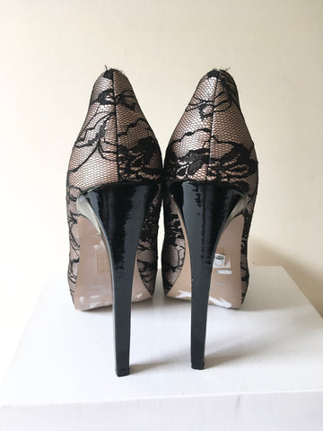 BRAND NEW FRENCH CONNECTION MINK SATIN & BLACK LACE VERY HIGH HEELS SIZE 7/40