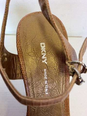 DKNY TAN LEATHER WITH CORK SHAPED WEDGE HEEL SANDALS SIZE 4/37