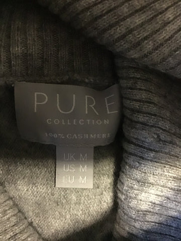 PURE COLLECTION GREY OVERSIZED 100% CASHMERE JUMPER SIZE M