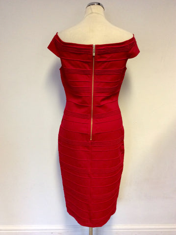 TED BAKER RED OFF SHOULDER STRETCH BODYCON DRESS SIZE 3 UK 12