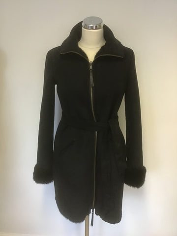 ARMANI JEANS BLACK FAUX FUR & SHEARING REVERSIBLE BELTED COAT SIZE 40 UK 12