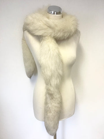 VINTAGE CREAM ARCTIC FOX TAIL LONG SCARF/ STOLE