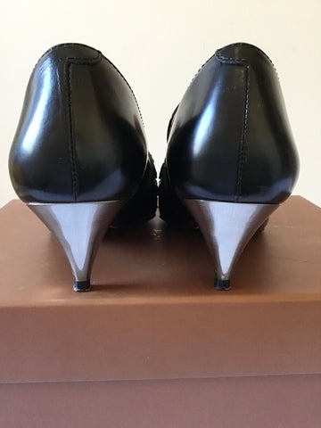 COACH BLACK LEATHER BETTY LOAFER WITH SILVER HEELS SIZE 3.5/36