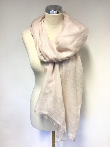 DONT LABEL ME 100% WOOL PINK & SILVER METALLIC THREAD FRINGED WRAP/ SCARF