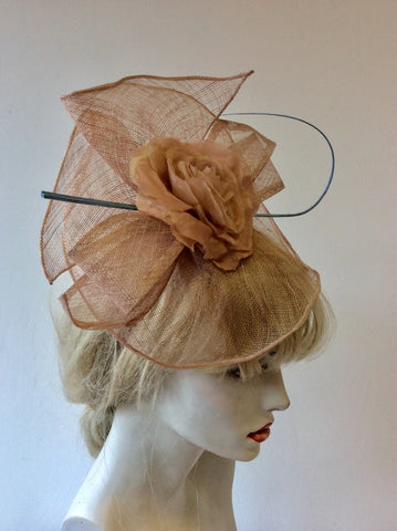 J BEES MILLINARY DUSKY PINK ROSE TRIM & BLUE COIL FASCINATOR