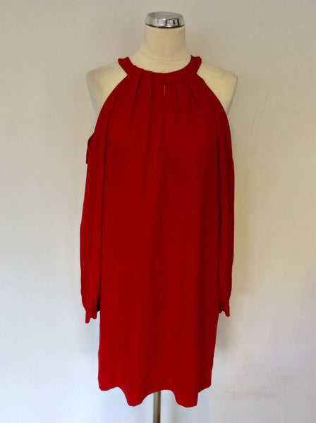 BCBGMAXAZRIA RED COLD SHOULDER SPECIAL OCCASION DRESS SIZE S