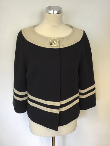 MARKS & SPENCER BLACK & BEIGE TRIM JACKET SIZE 12
