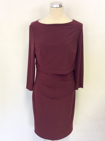 BRAND NEW RALPH LAUREN BURGUNDY STRETCH JERSEY DRESS SIZE 14