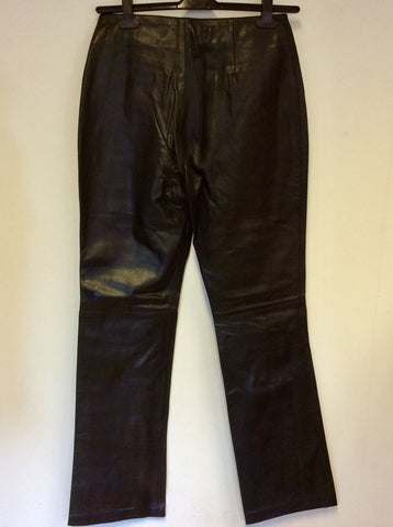 COTTON TRADERS BLACK LEATHER TROUSERS SIZE 12