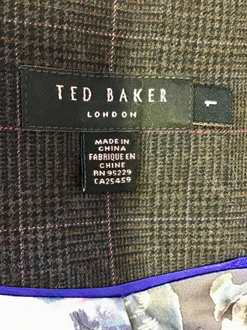 TED BAKER DARK BROWN CHECK WOOL BLEND WAISTCOAT & TROUSERS SIZE 1 UK 10