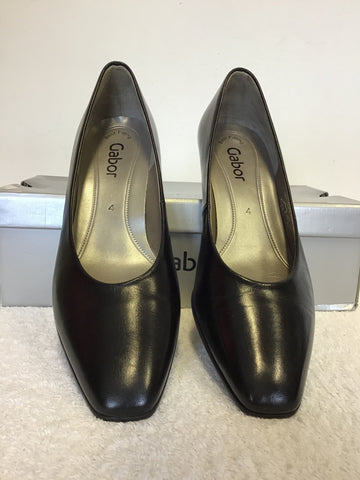 BRAND NEW GABOR COMPETITION BLACK LEATHER HEELS SIZE 4/37