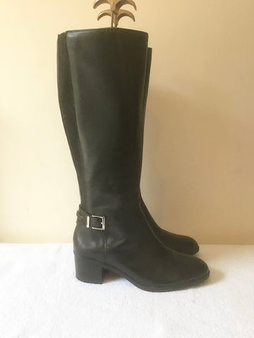 BRAND NEW MARKS & SPENCER AUTOGRAPH BLACK LEATHER BOOTS SIZE 4/37