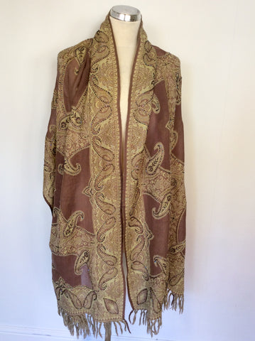 BRAND NEW LIGHT BROWN & CREAM BEADED PRINT WOOL WRAP/SCARF