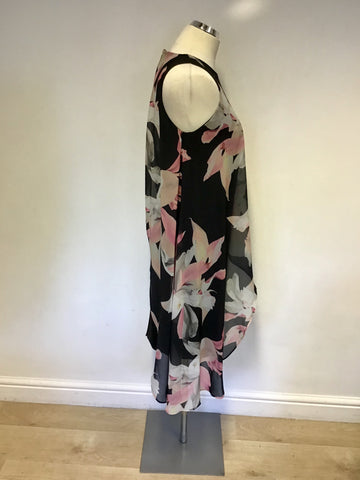 COAST BLACK STRETCH PENCIL DRESS WITH FLORAL PRINT ASYMMETRIC OVERLAY SIZE 12