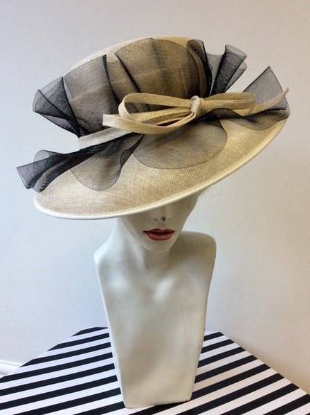 BRAND NEW CAPPELLI CONDICI NATURAL STRAW & BLACK NET TRIM FORMAL HAT