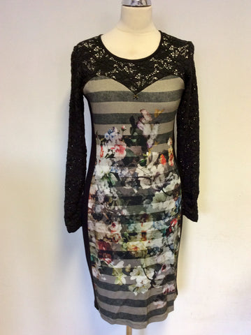 ARIANA BLACK & MULTI COLOURED FLORAL & LACE SLEEVE PENCIL DRESS SIZE 40 UK 12