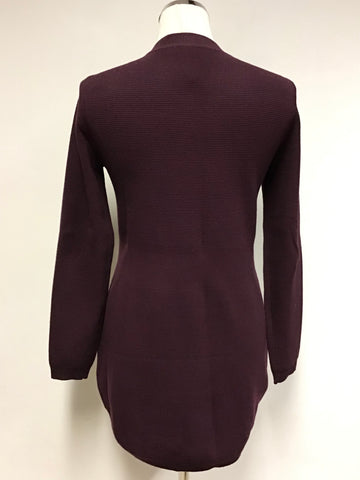 BRAND NEW KAREN MILLEN BURGUNDY ZIP UP CARDIGAN SIZE S