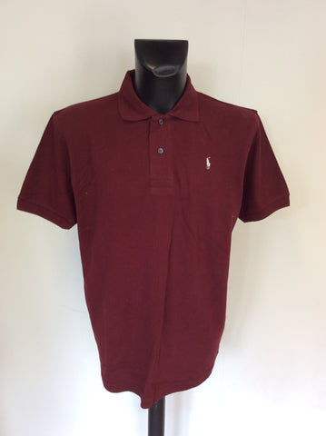 POLO BY RALPH LAUREN BURGUNDY COTTON SHORT SLEEVE POLO SHIRT SIZE XXL