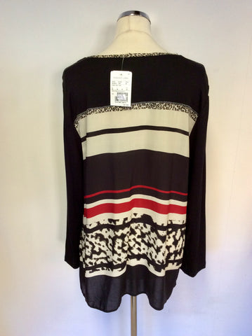 BRAND NEW BARBARA LEBEK BLACK, BEIGE & RED PRINT LONG SLEEVE TOP SIZE 20