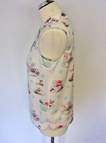 YANI WHITE & MULTI COLOURED TEAPOT & MACAROON PRINT SLEEVELESS BLOUSE SIZE 8
