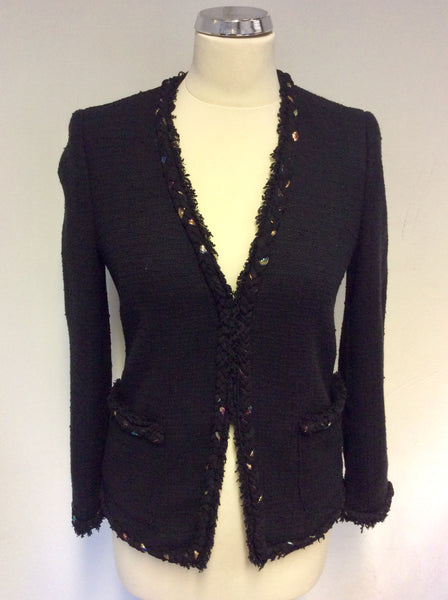DKNY BLACK PLAITED EDGE TRIM BOX JACKET SIZE 2 UK 10