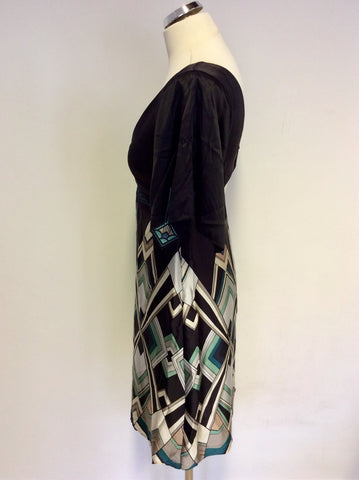 KAREN MILLEN SILK GEOMETRIC PRINT DRESS SIZE 10
