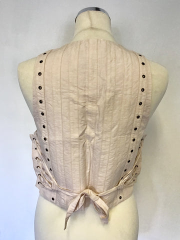 STELLA  McCARTNEY PALE PINK / NUDE LINEN & COTTON WAISTCOAT BODICE TOP SIZE 40 UK 12