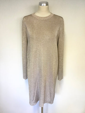 BRAND NEW COS CHAMPAGNE/ ROSE GOLD METALLIC LONG SLEEVE KNIT DRESS SIZE L