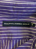 RALPH LAUREN GOLF PURPLE & WHITE STRIPED COTTON SHIRT SIZE 4 UK 8